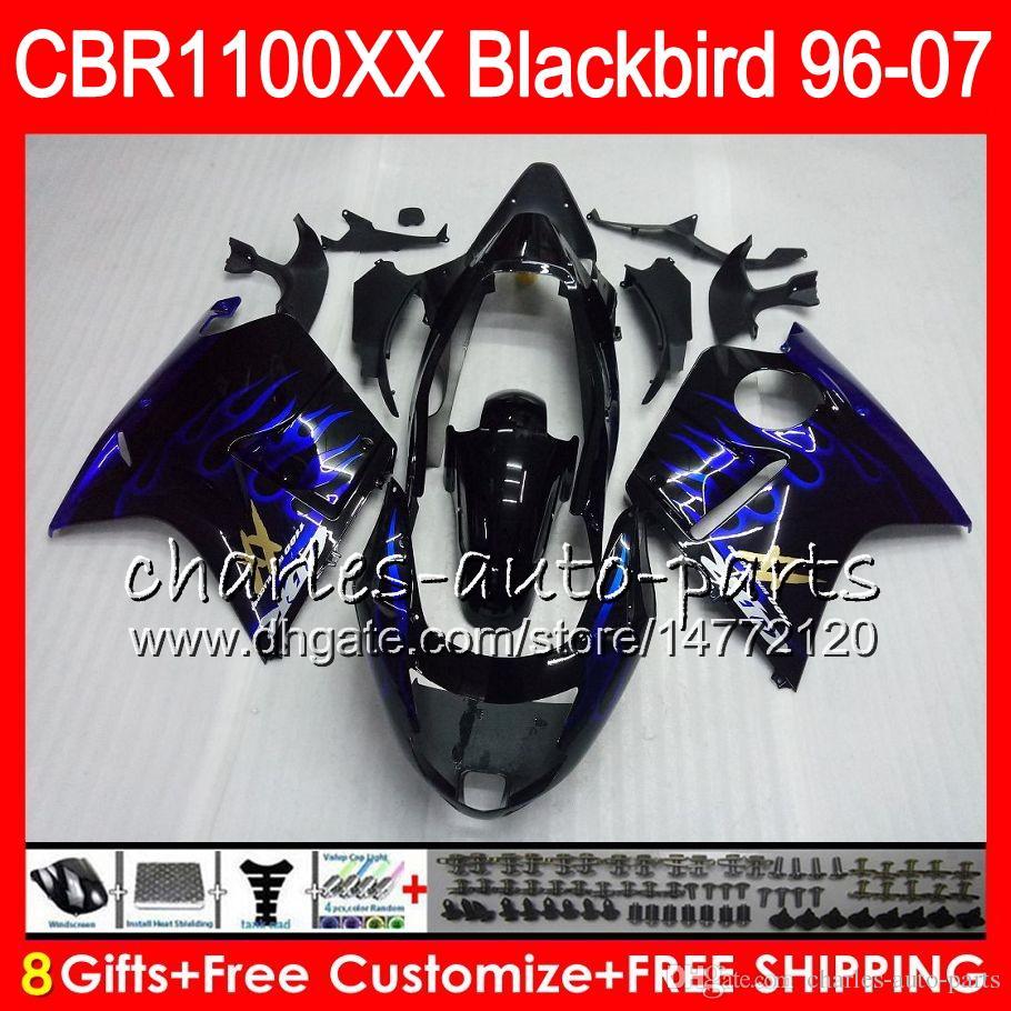 Кузов для HONDA Blackbird CBR1100 XX CBR1100XX синий пламя 96 97 98 99 00 01 81HM9 CBR 1100 XX 1100XX 1996 1997 1998 1999 2000 2001 обтекатель
