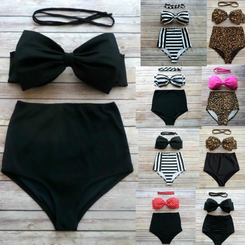 64c9ffb20ec 2019 2016 Bow Bandeau Sexy Bikini Women Lady Vintage High Waisted Pin Up  Push Up Swimwear Swimsuit Bikini Set Biquini Maillot De Bain Plus Size From  ...