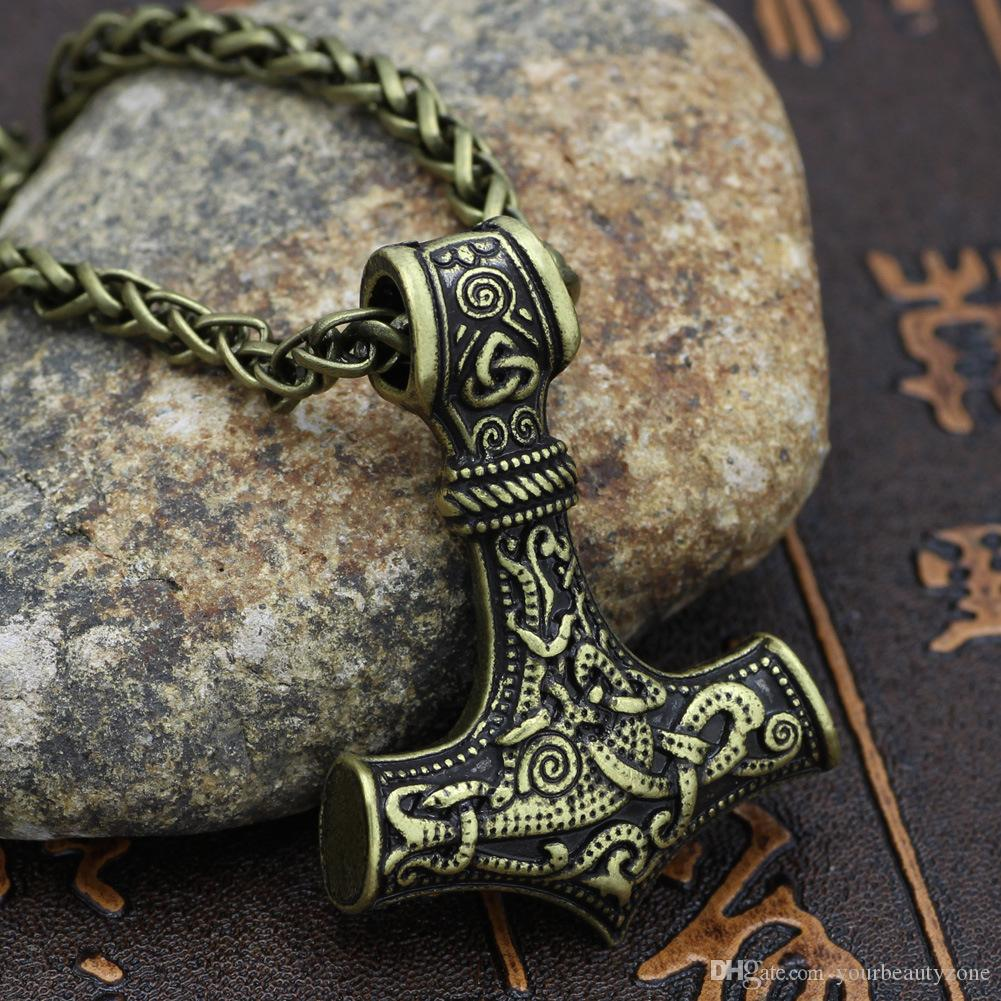 MCW Totem Style Religieux Pendentif Viking Nordique Thor Hammer Mjollnir Pendentif Collier Amulettes Norse Irlandais Bijoux