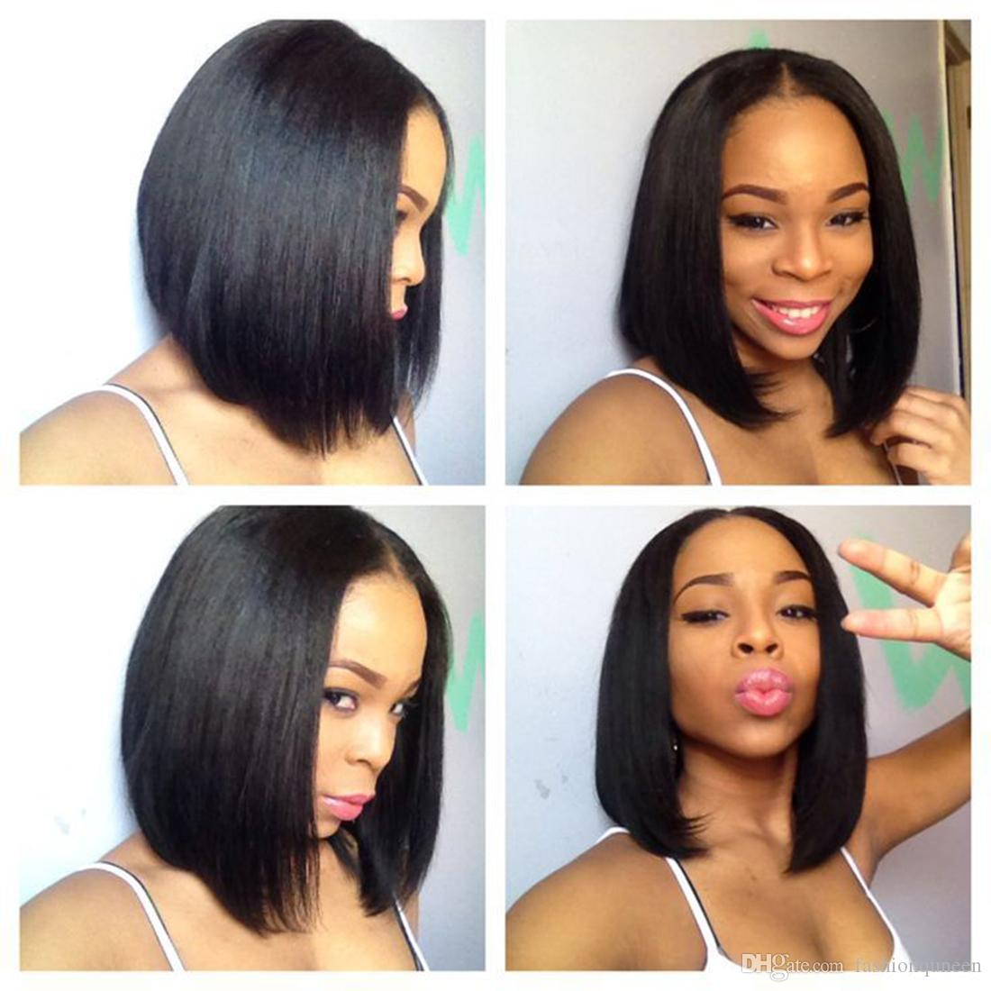 Straight Lace Human Hair Wigs For Black Women 12inch 130 Density