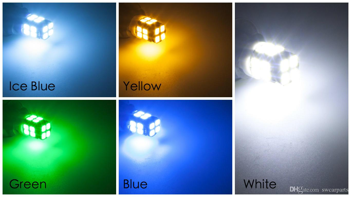 T10 LED White/Blue/Yellowamber/Green/Ice Blue 12V 20SMD 2835 W5W Car Side Marker lights Dome map License Plate lamp bulb