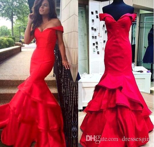 Red Mermaid Evening Dresses Off The Shoulder Long Prom Dress Ombre Party Gowns Sexy Tiered Skirts Long Celebrity Dress BA2322