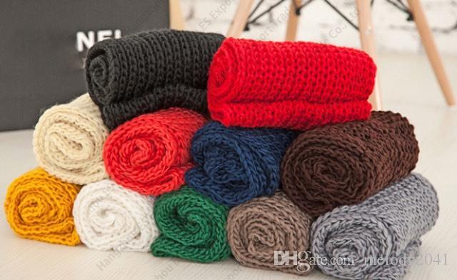 Новые вязаные шарфы бесконечности чистый цвет два кольца зимний шарф 130 х 25 см 10 цветов дешевые шарфы оптом