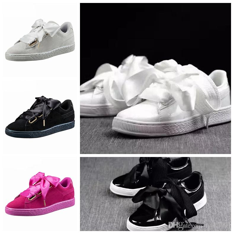 clearance online fake cheap sast New Fashion Shoes Suede Basket Flat Shoe Silk Banded Heart Satin Bow Tie Bowknot Skate Black White Grey Shoes High quality really cheap price 9tFSlsBkVB