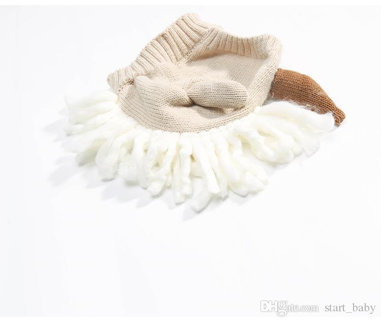Newest infant unicorn hats Woolen Winter Knitted Hats Warm Hedging Caps cartoon Hand Crochet Caps
