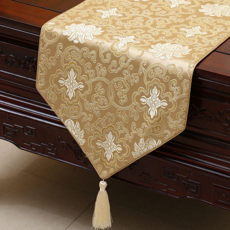 럭셔리 해피 플라워 테이블 러너 길게 패션 중국 스타일의 실크 브로케이드 커피 테이블 천으로 하이 엔드 다이닝 테이블 매트 Placemat 230x33 cm