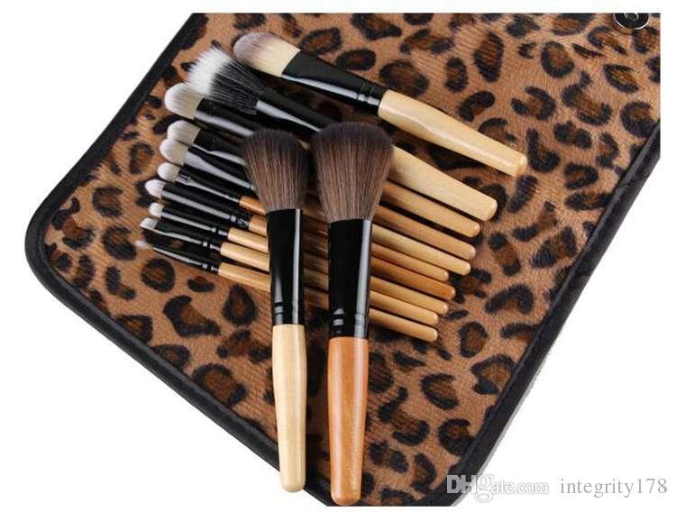 Leopard case cosmetic brush set with wood handle Makeup Brushes Set Powder Foundation Eyeshadow Eyeliner Lip Brush Tool