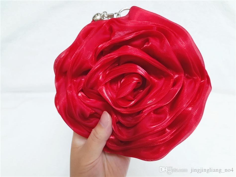 Süße 3d rose blume handtaschen seide satin plissiert blumen abendtaschen frauen mädchen party handtaschen geldbörse hochzeit handtaschen 50 stück ooa3028