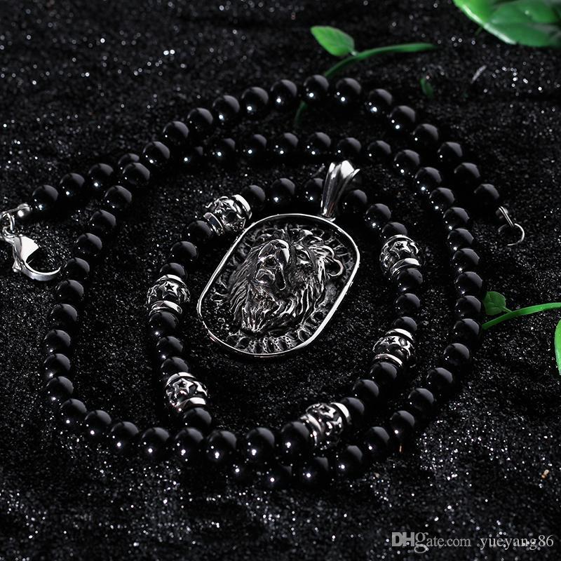 Brand New Charming Good Jewelry Biker In acciaio inossidabile 316L Large Dog Tag Lion Head Collana Pendente Catena palla nera 28 ''