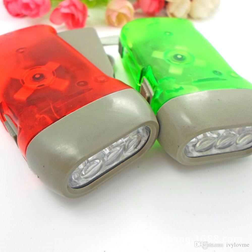 2017 New protable 3 LED Dynamo Wind Up Flashlight Torch Light Hand Press Crank NR Camping Free & Fast DHL Shipping