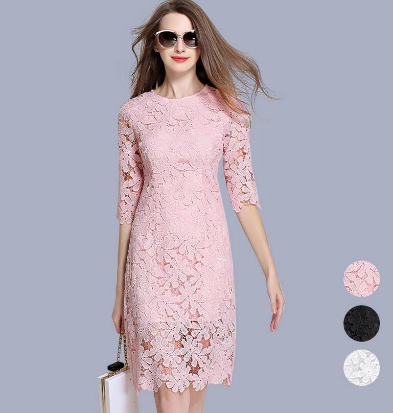 2018 2017 Spring Lace Dress Petite Ladies Midi Sheath Dresses O Neck
