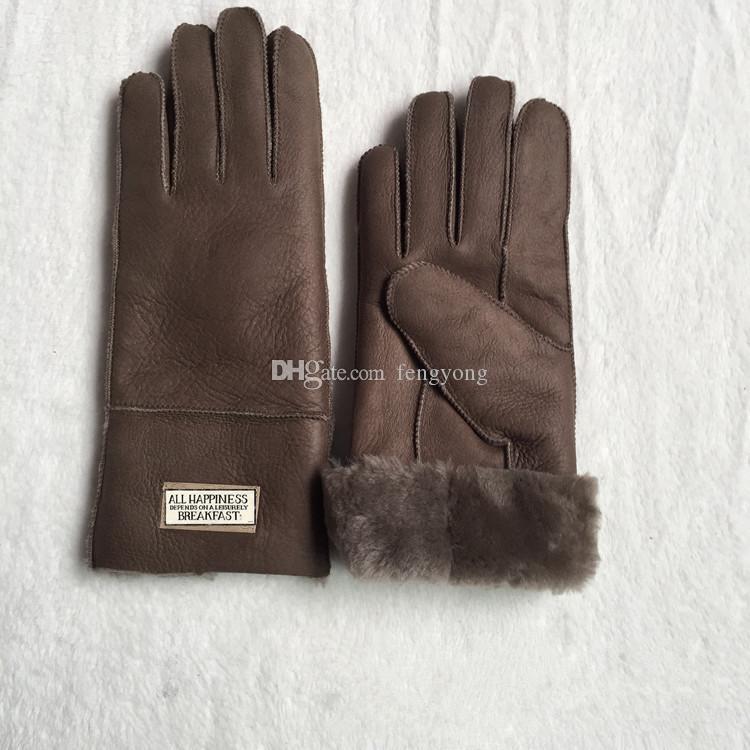Las nuevas mujeres guantes de cuero de piel de oveja brillante invierno femenino moda cálida guantes anticongelantes a prueba de viento