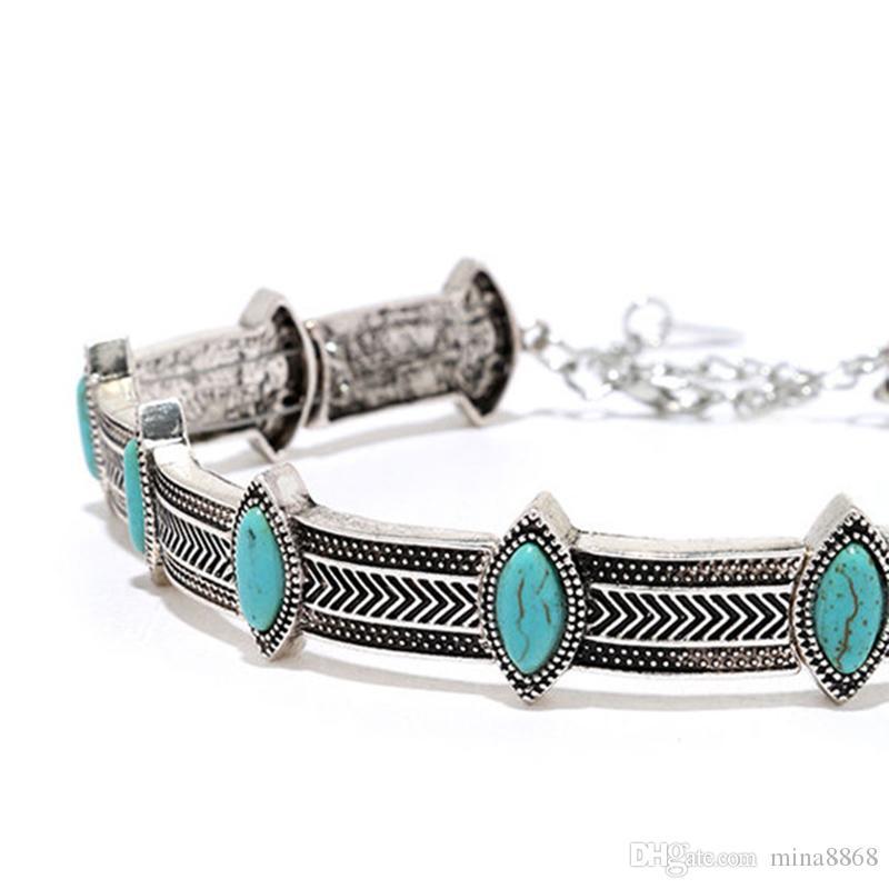 Femme Collier Femme Thai Silver Coins Bohème Turquoise Pendentif Colar Déclaration Colliers Ras Du Cou Collier vintage bijoux pour femmes DHN336