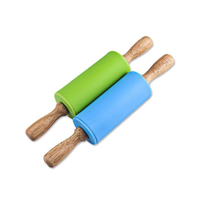Enfants colorés petit rouleau à pâtisserie en silicone poignée en bois pâte pâte à pâtisserie rouleau enfants bricolage cuisine décoration de gâteau outils ZA3219
