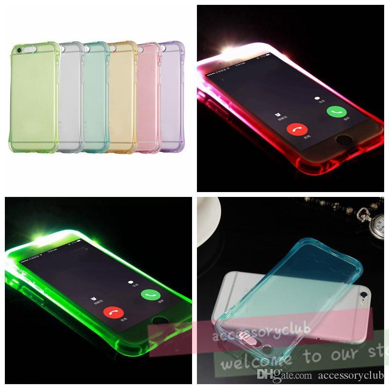Luminous Called Sense Case Remind Lncoming LED Flash Up Light Clear Airbag TPU Soft Back Cover For iPhone 5S SE 6 6S Plus Galaxy S6 S7 Edge