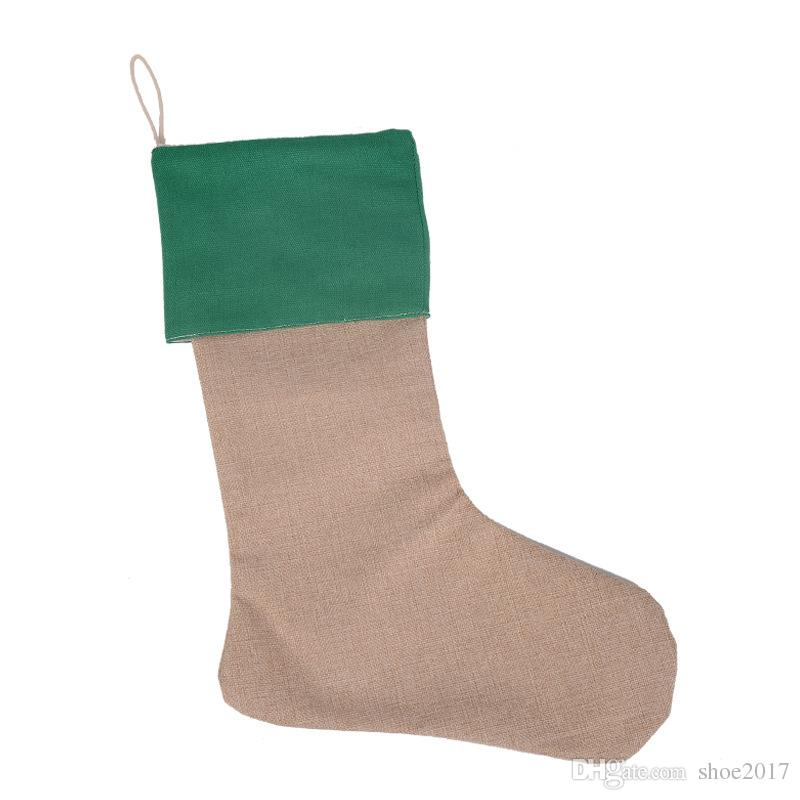 12*18inch 2017 New high quality canvas Christmas stocking gift bags Xmas stocking Christmas decorative socks bags