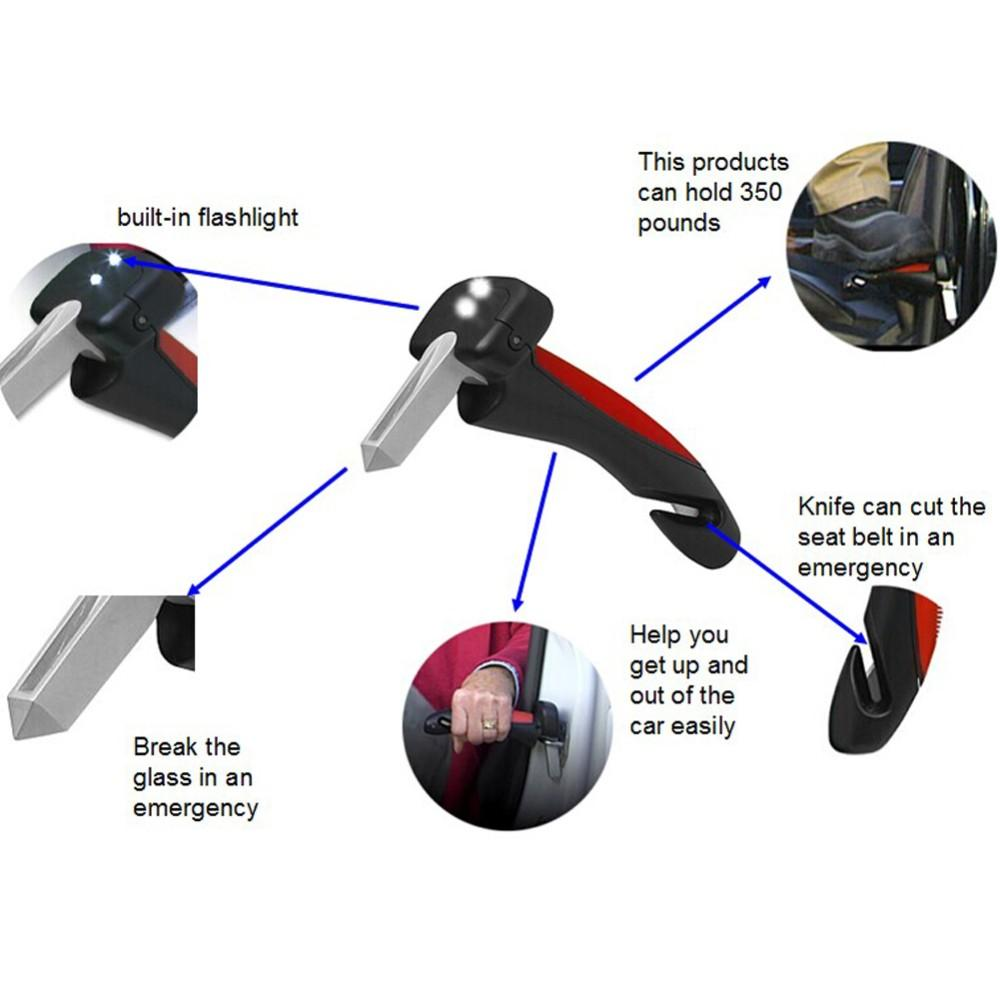 Portable Emergency tool for CAR cane HANDLE Deluxe Auto Mobility Cane Grip -LED Flashlight Seatbelt Cutter Glass Breaker with steel tip