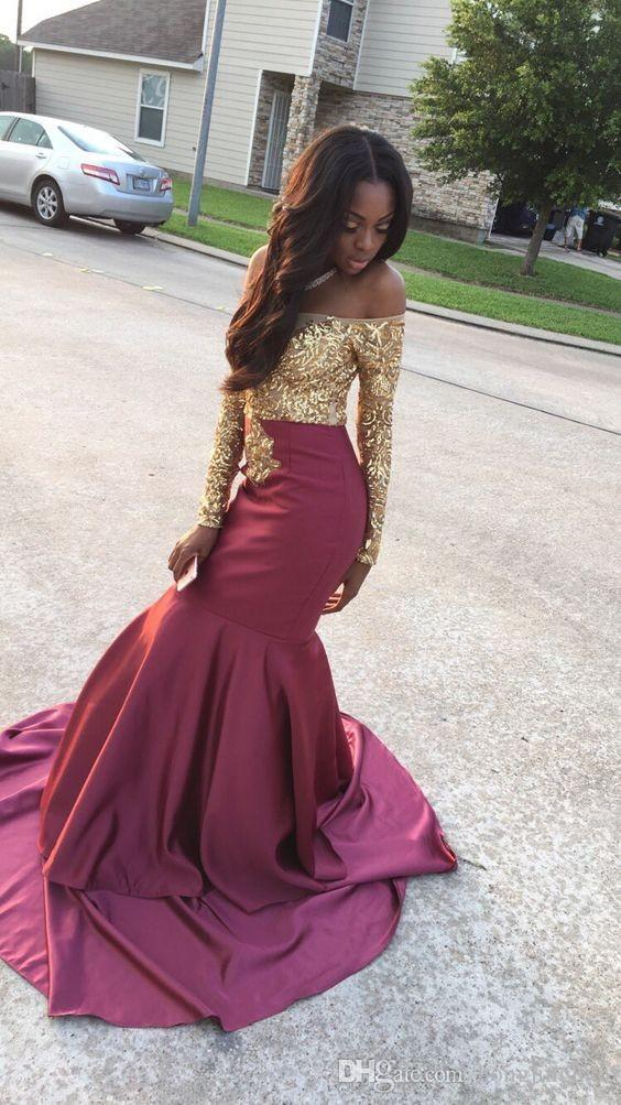 Sirena de satén Fiesta formal en la fiesta Vestido de noche con apliques dorados Celebrity para las niñas negras Longitud del piso