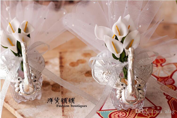 Estilo europeu branco rosa vermelho azul roxo champanhe cisne doce caixa de Doces caixa de Doces personalidade criativa Fontes do casamento caixa Doce