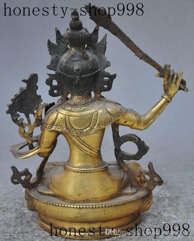 "8""Old tibet buddhism fane bronze gilt Manjusri kwan-yin GuanYin buddha statue"