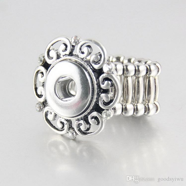 Mixed high quality Elegant crystal Round Metal elastic snap button ring trendy flexible fit 12MM 18MM Noosa Button Ring wholesale women R005