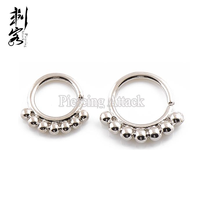 Brass Simple Ball Septum Clicker Nose Ring Indian Nose hoop Piercing Jewelry of