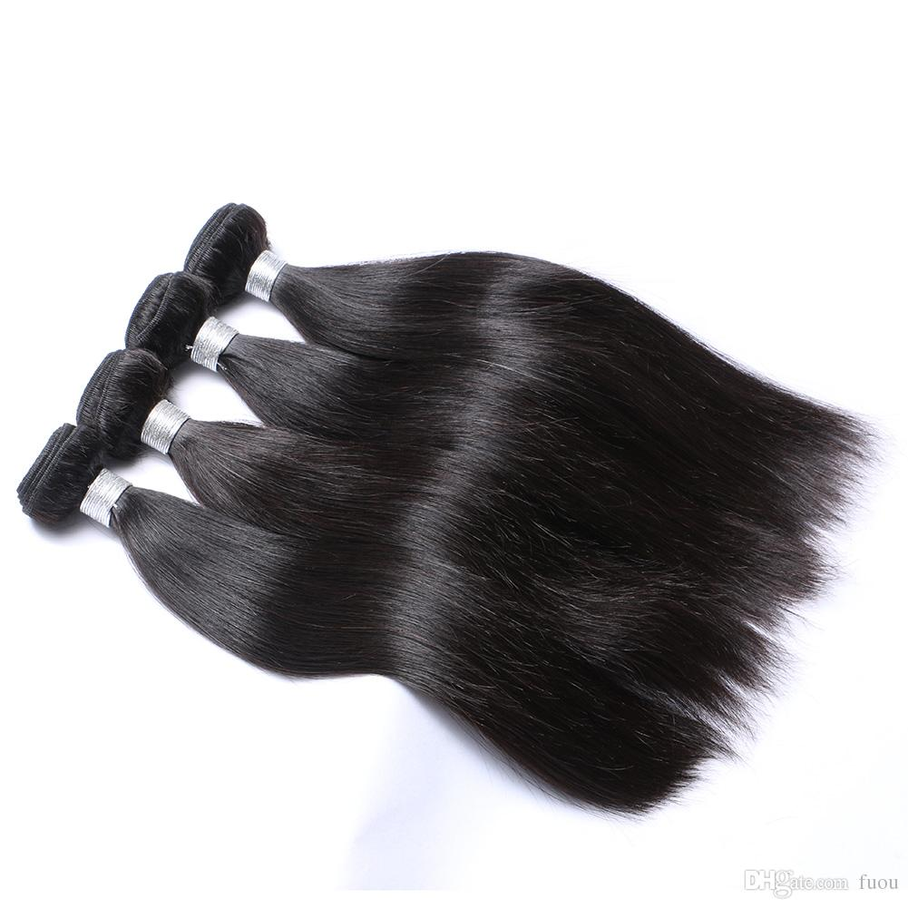 Top Grade 7A Mixed 3 stücke 8-30inches Brazilianisches Jungfrau Menschliches Webart Natürliche Farbe Seidige Gerade Haar Schussverlängerungen Freies Verschiffen