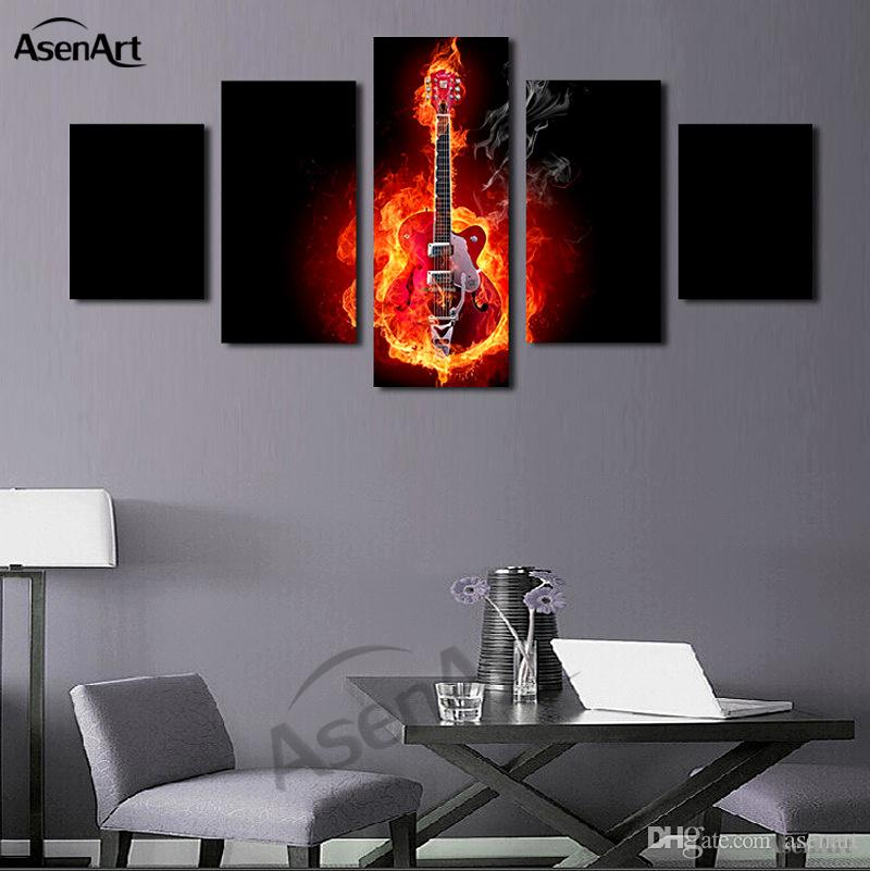 guitar wall decor.htm 2020 passion fire guitar soul play picture unframed oil canvas  fire guitar soul play picture unframed