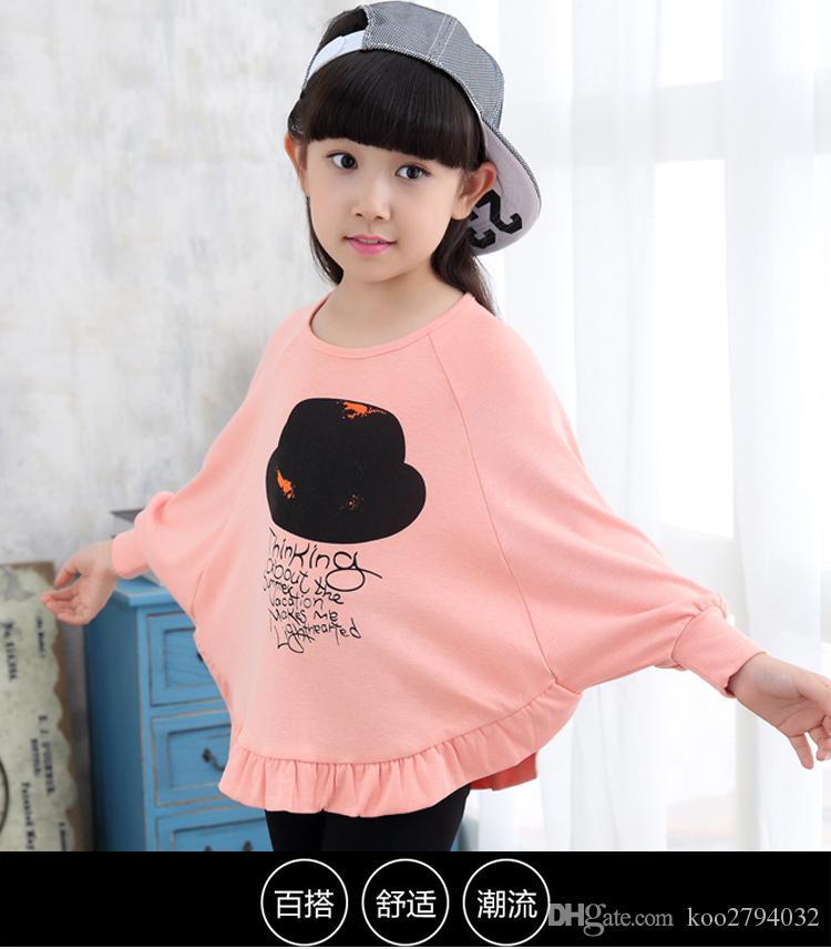 2016 Yeni Varış Çocuk Giysiler Çocuk Üstleri Tees Kız T-Shirt En Kaliteli Sevimli Giysiler Bebek Baskılı Çiçek Moda Sıcak Satış