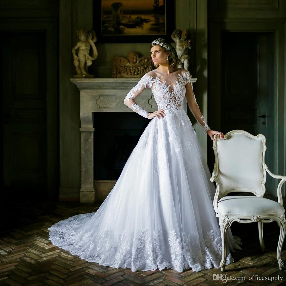 Vestido De Noiva Praia 2018 See Through Long Sleeve Wedding Dresses Cheap Tulle Lace Wedding Dress Robe De Mariage Bridal Gowns