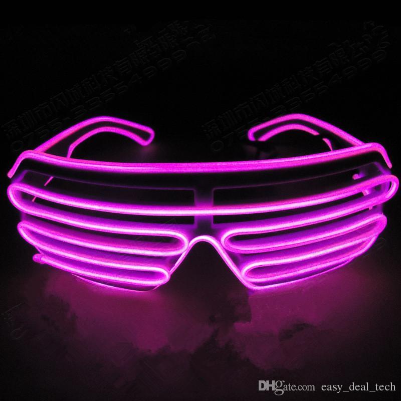 Parpadea la luz del LED Obturador EL Alambre Gafas Glow Frame Gafas de sol Fiesta de baile Iluminación de Halloween Discoteca Q0064
