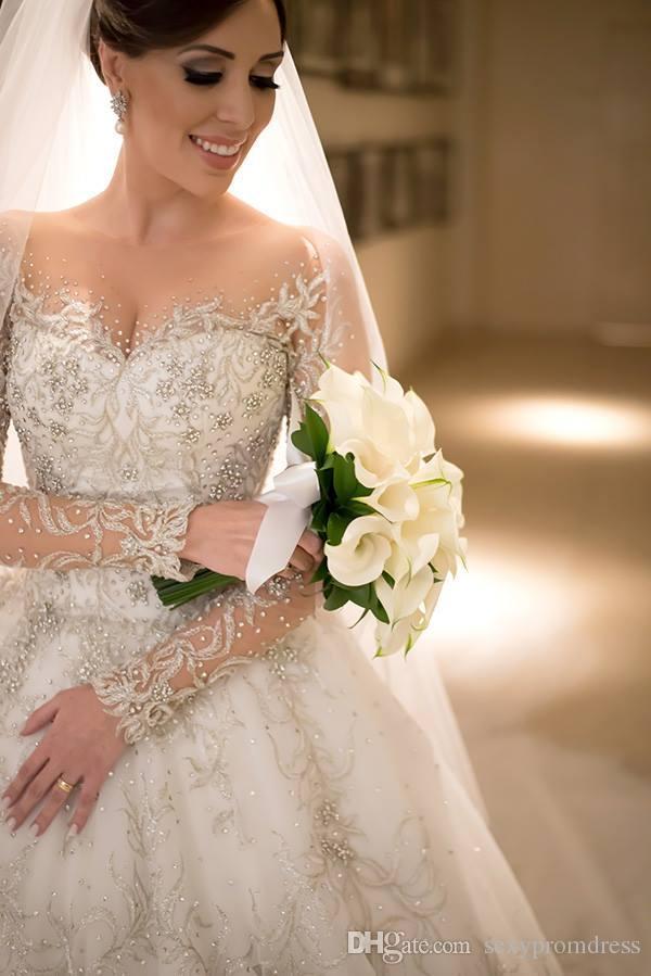 Abiti da sposa di lusso con collo in pizzo trasparente applique 2017 Abiti da sposa manica lunga illusione primavera estate Illusione Sweep Train Abiti da sposa