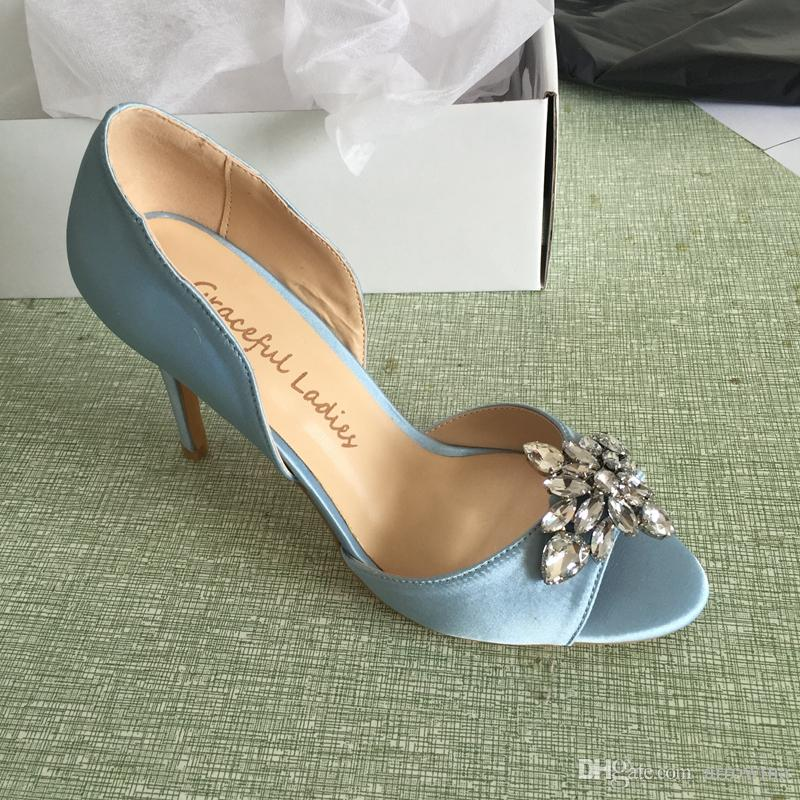 2016 Real Light Blue Wedding Shoes Bridal Shoes Slip On