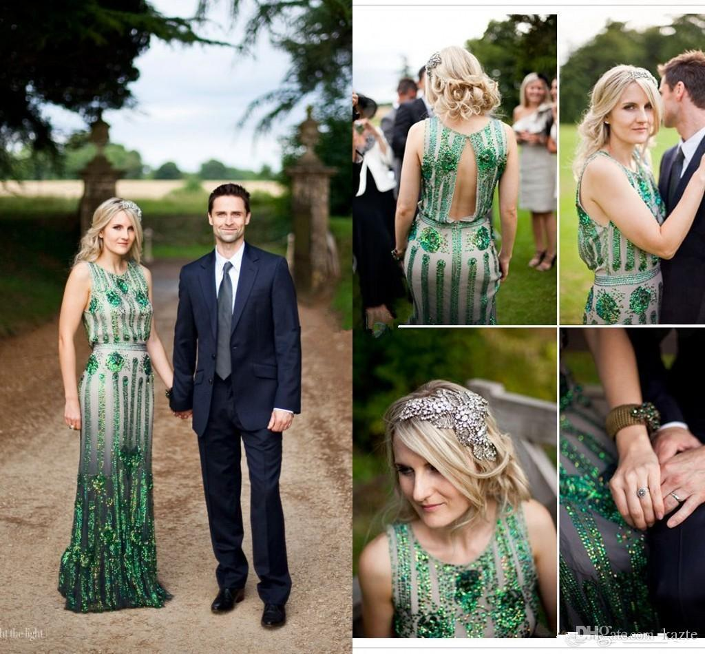 04c6b466432f8 Vintage Great Gatsby Emerald Green Crystal Jenny Packham Wedding Dresses  2018 Modest Full Length Country Mermaid Garden Bridal Wedding Gown Designer  Wedding ...