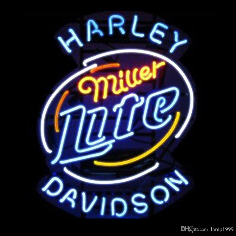 Brand New Miller Lite Harley Davidson Real Glass Neon Sign Beer