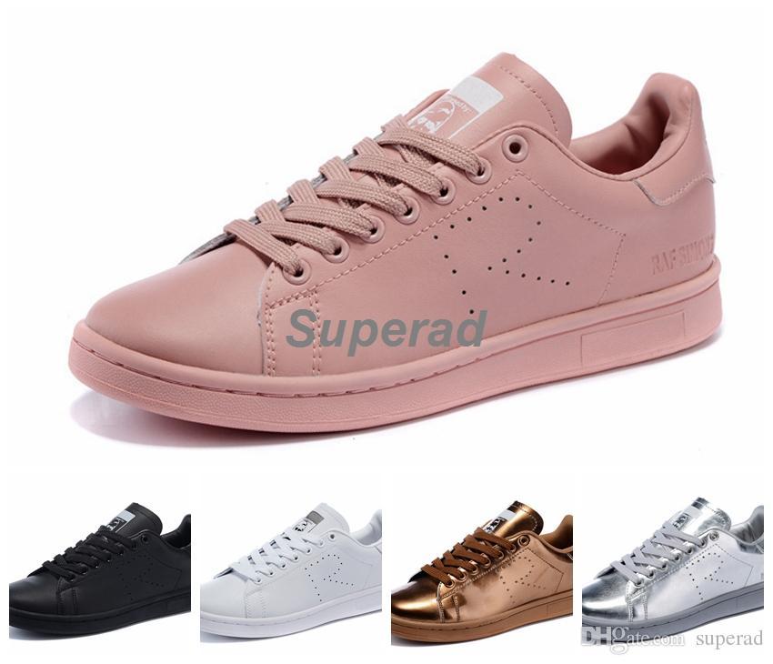0f3e71a1253 Compre Raf Simons X Originais Stan Smith 2015 Ouro Prata Branco Preto Rosa Tênis  Tênis Clássico Stan Smiths Sapatos Superstar 36 44 De Superad