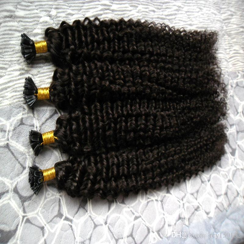 Mongolian kinky curly hair 200g Human Fusion Hair Nail U Tip 100% Remy Human Hair Extensions 200s afro kinky curly keratin stick tip