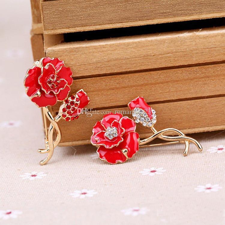 Red Enamel Flower Brooch Female Cheap Crystal Poppy Broches Wedding Women Floral Lapel Pin DHL