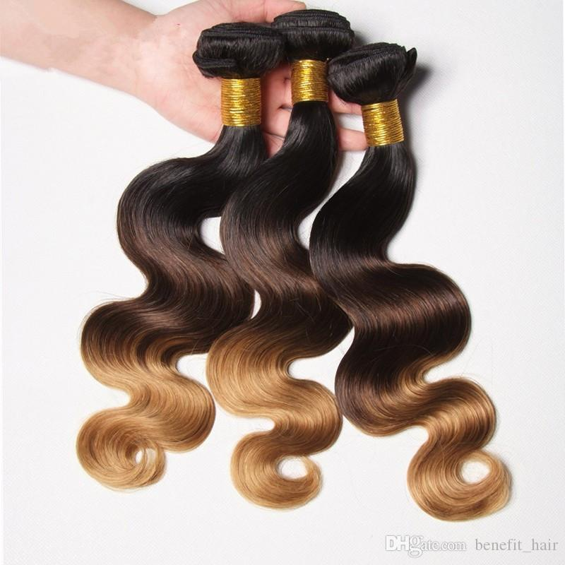 3 тон 1B/4/27 ломбер волосы 7А объемная волна Ombre наращивание волос монгольский Малайзии объемная волна кружева закрытие с 3 связки