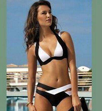 3c6b70b10352 Hit the Color sexy traje de baño blanco y negro Las mujeres europeas y  americanas se reúnen traje de baño Bikini split de Ms. Swimwear HNY03