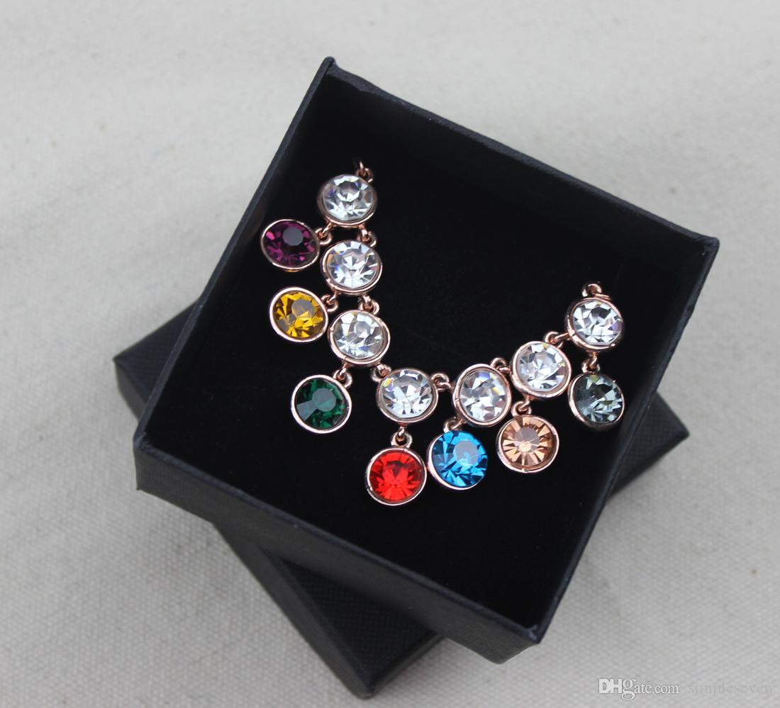 [Simple Seven] Lovers solide noir détail Boîte à bijoux / Mode Pedant Boîte / Paquet Collier / Bijoux Broche cas / Tendance Bracelet d'emballage
