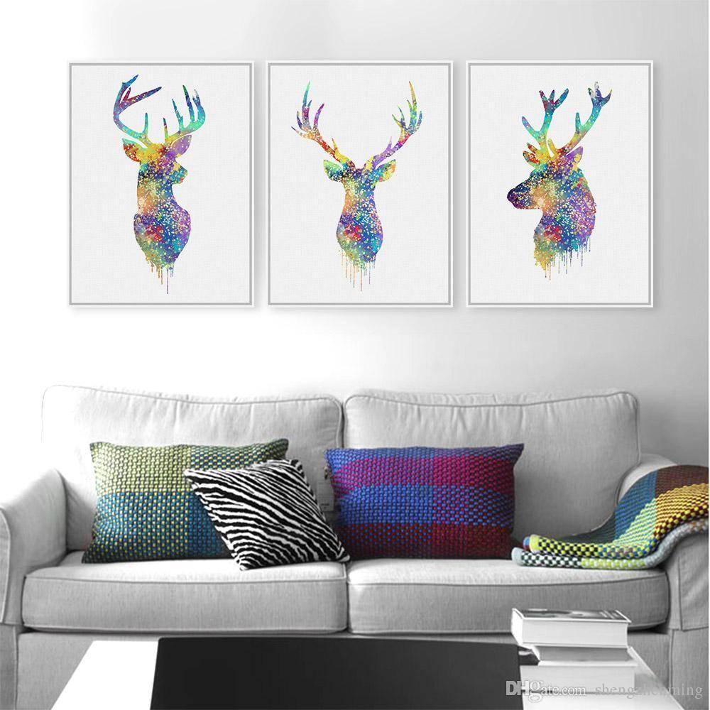 2018 Original Watercolor Deer Hipster Living Room Modern Abstract ...