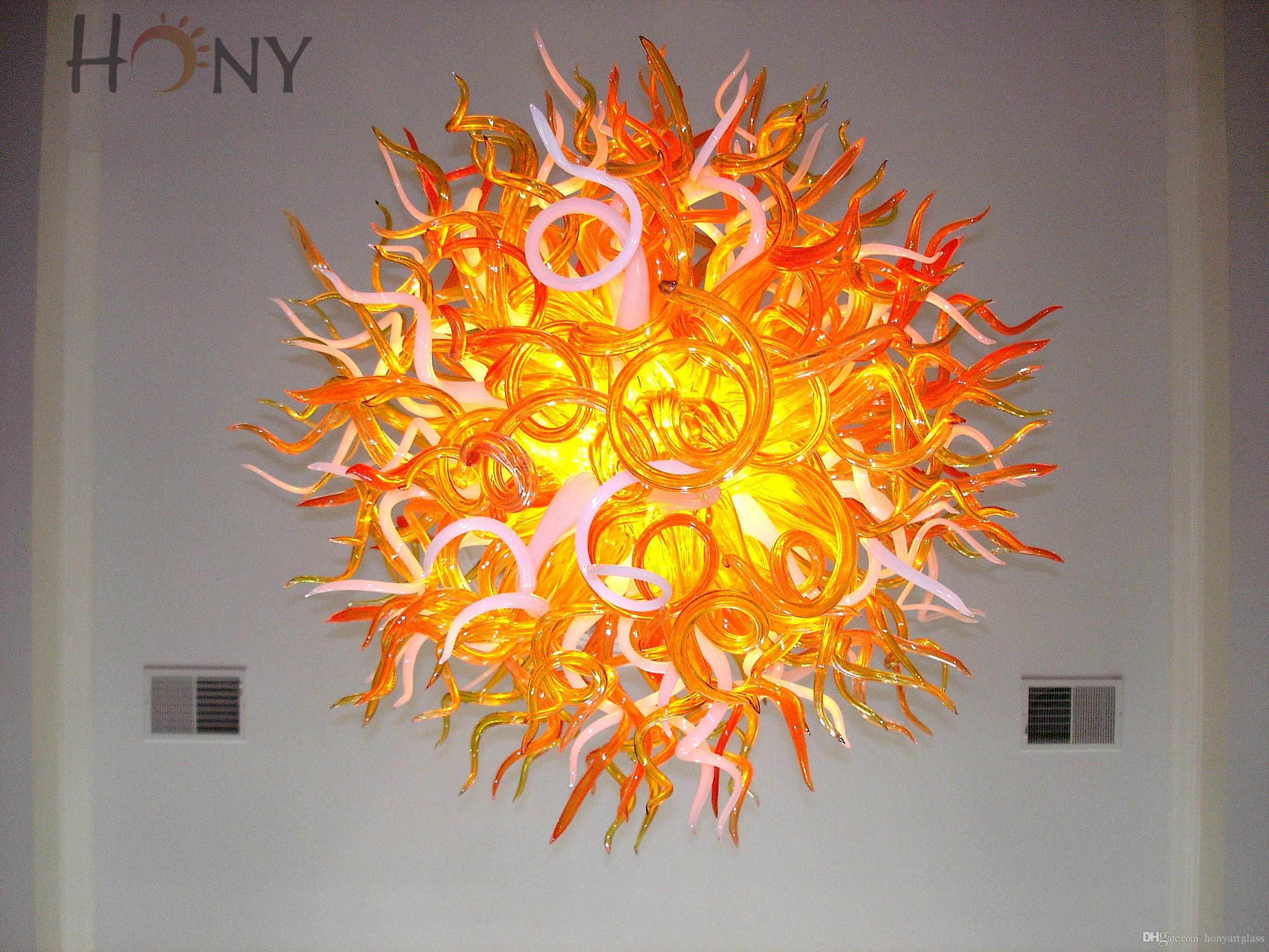 AC LED 100% Handmade Art Popular Handicraft Modern Style Murano Glass Ball Chandelier Lights
