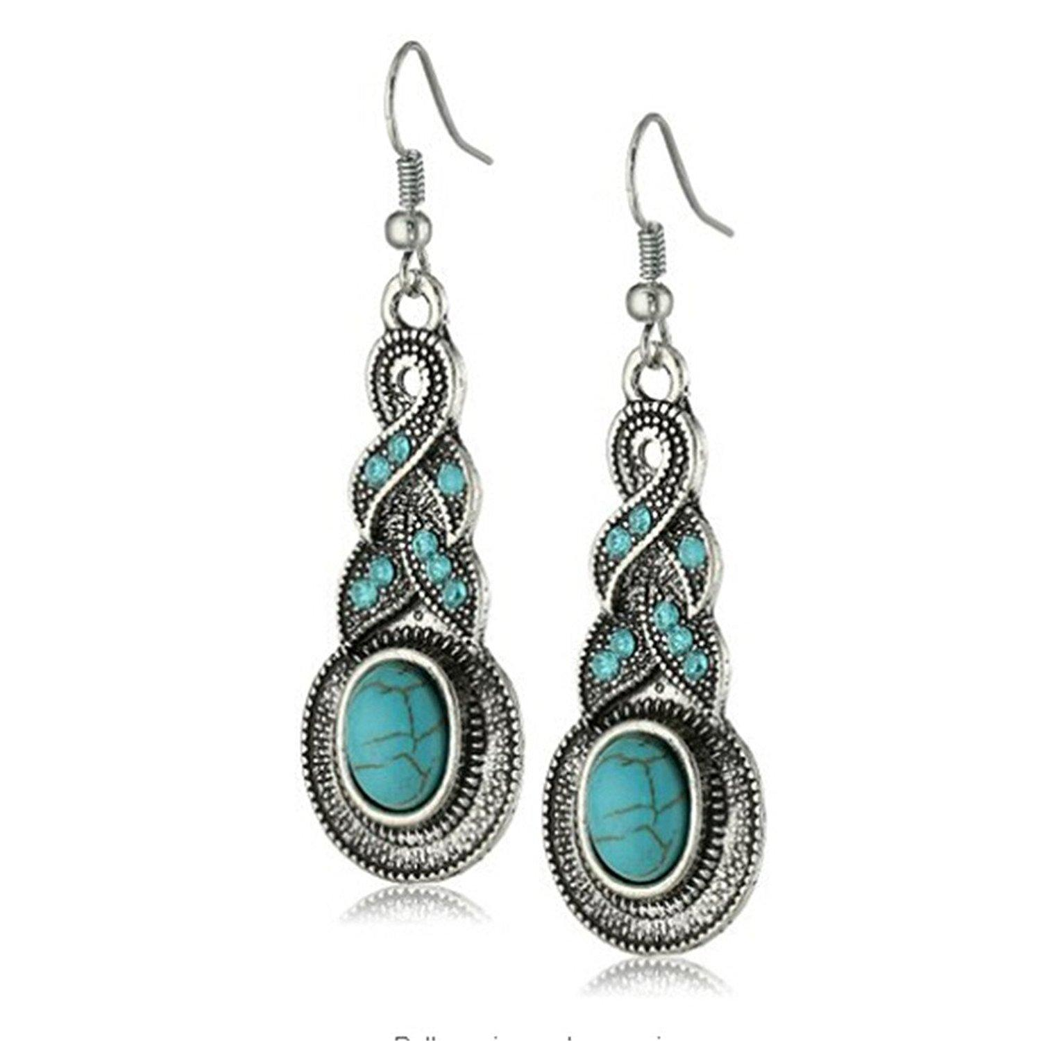 3a34cbc77 2019 GEMIN Ethnic Tibetan Silver Oval Rimous Turquoise Crystal Drop Dangle  Earrings From Gemin1990, $2.02 | DHgate.Com