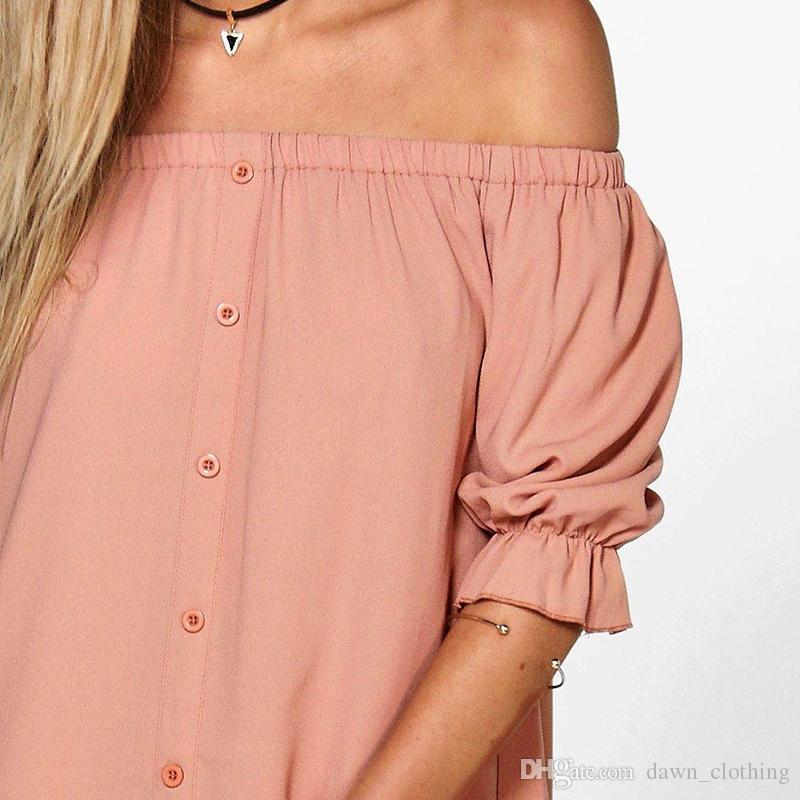 Women Fashion Sexy Off Shoulder Short Sleeves Mini Dress Casual Slash Neck Long Blouse Dress T-Shirt