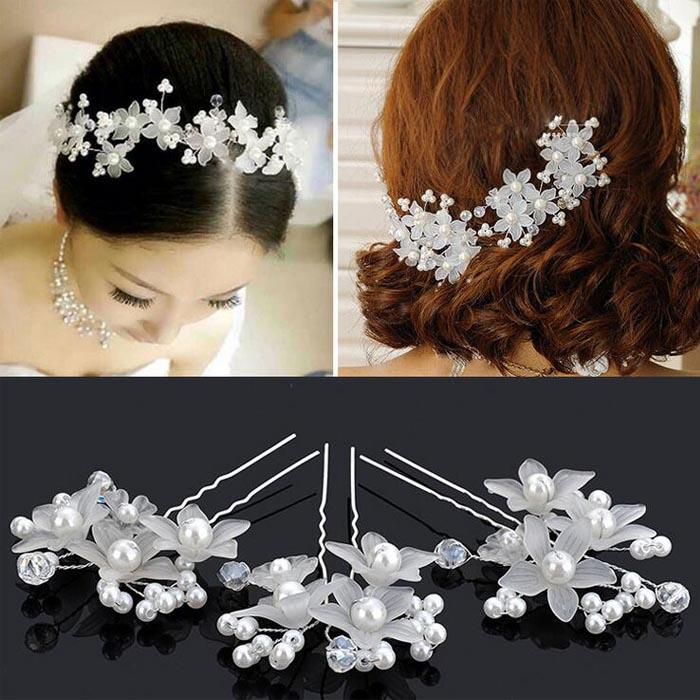 Hot Wedding Hair Accessories Pearl Flower Barrettes Bridal Bridesmaid Clips Hairpins White Red Colors Head Pieces Bride From