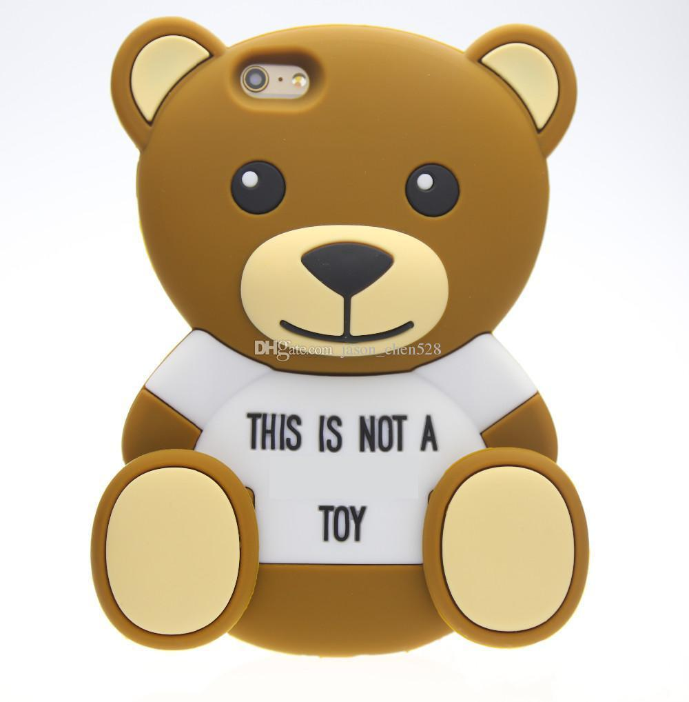 3D teddy bear Cartoon animals Cute Toy brown teddy bear silicone case For iphone 4s/5 5s/SE/6/6plus 7 7plus Cell phone case