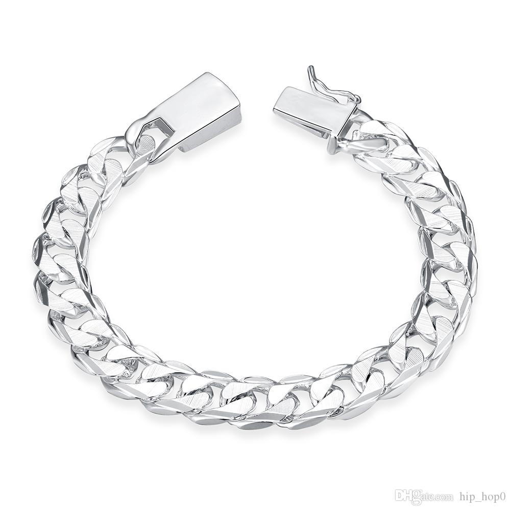 2019 Silver Fill Fashion Bracelet Men/Boys 925 Sterling Silver Jewelry  Curb/Figaro Chains Geometric Modeling Silver Bracelet From Hip_hop0, $3.93  | DHgate.