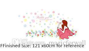 Bubble Girl on the Grassland Wall Art Mural Poster Chica Bonita Soplando Burbujas Pegatinas de Pared El Sueño de Todas las Chicas Cita de Pared Tatuajes de Pared