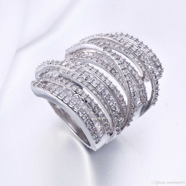 Полный Принцесса Cut Роскошные Ювелирные Изделия Стерлингового Серебра 925 Стерлингового Серебра 925 Белый Сапфир Имитация Бриллиантовые Камни Обручальное Кольцо Женщин Sz5-11